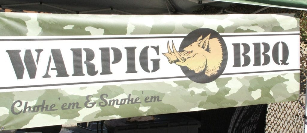 Sign of 'Warpig BBQ' - one of the contestants at the BBQ